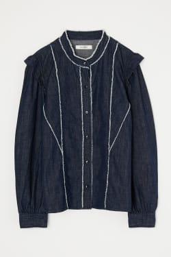 CUT OFF FRILL DENIM blouse
