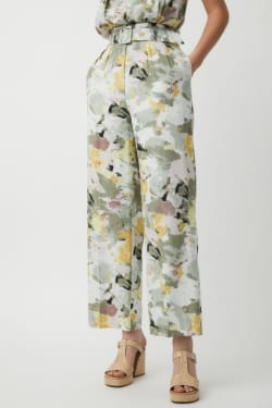FLOWER PAINT High Waisted TUCK PANTS
