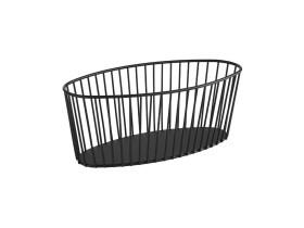 Leipäkori soikea musta metalli 30x14 cm