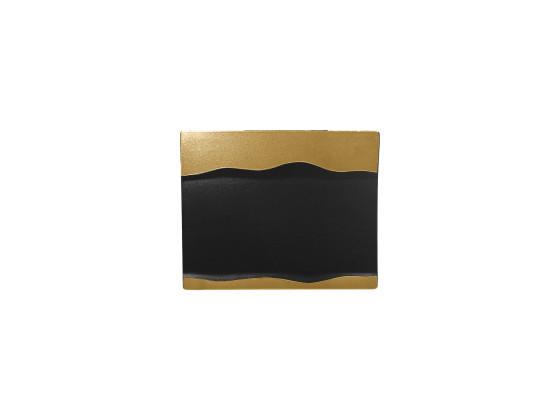 Lautanen suorakaide musta/kulta25x20 cm