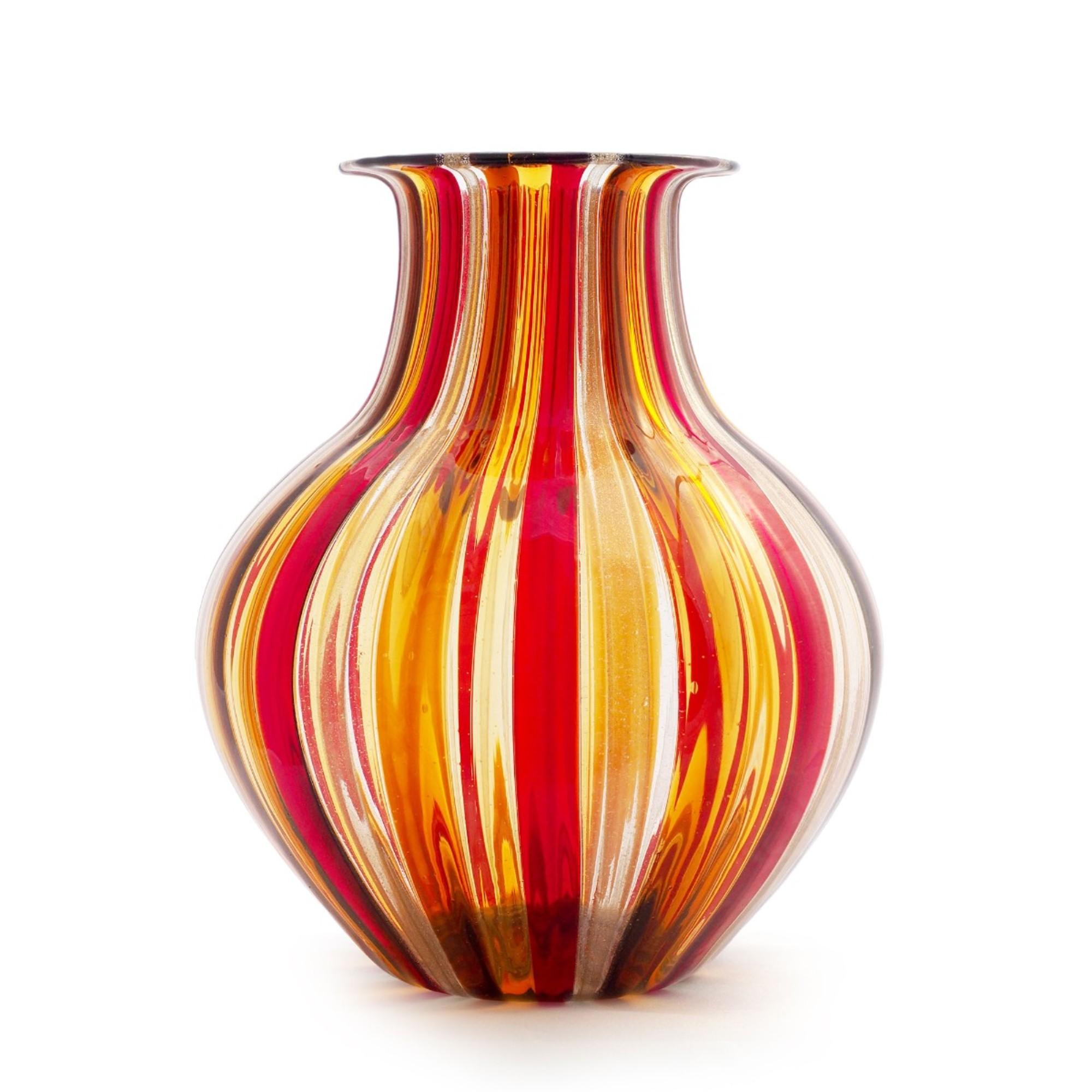 Blown Murano Glass Striped Vase