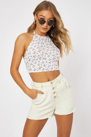 f7c94e3071b726 IRICLE WHITE DITSY FLORAL PRINT HALTERNECK CROP TOP