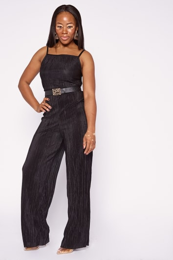 ARIENNA BLACK PLISSE SQUARE NECK JUMPSUIT