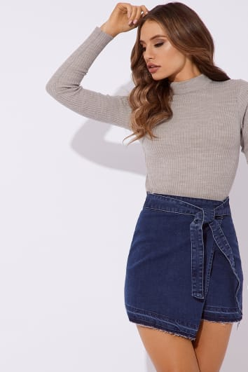 LANIYAH BLUE WRAP DENIM SKIRT