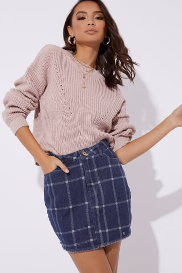 JILLION CHECKED DENIM SKIRT