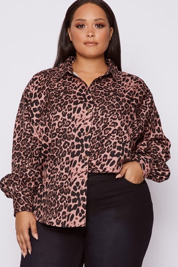 image of CURVE DANI DYER PINK LEOPARD PRINT OVERSIZED SHIRT with sku 99852 ff3c5863a