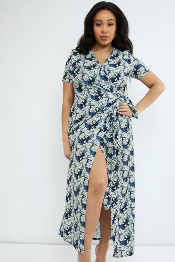CURVE EMILY ATACK NAVY FLORAL PRINT WRAP MAXI DRESS