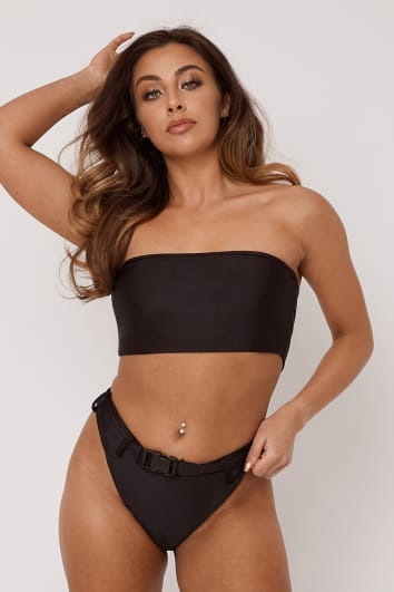 FRANCIS BLACK BELTED HIGH LEG BIKINI BOTTOMS