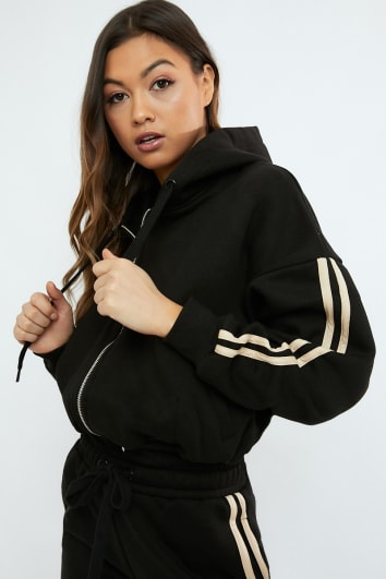 SARAH ASHCROFT BLACK OVERSIZED CONTRAST STRIPE HOODIE