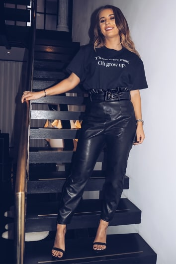DANI DYER BLACK PU PAPERBAG TROUSERS