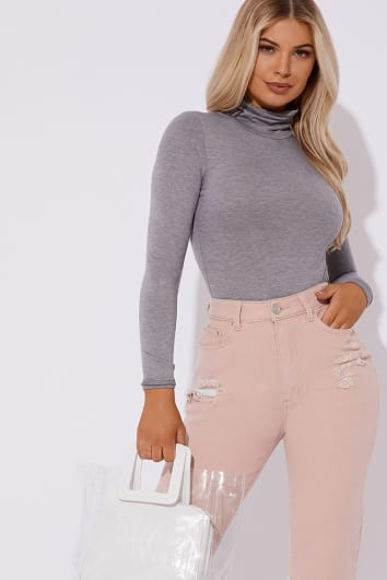 BASIC GREY MARL ROLL NECK LONG SLEEVED BODYSUIT