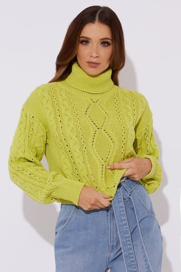 OLIVIJA LIME GREEN ROLL NECK CABLE KNIT JUMPER