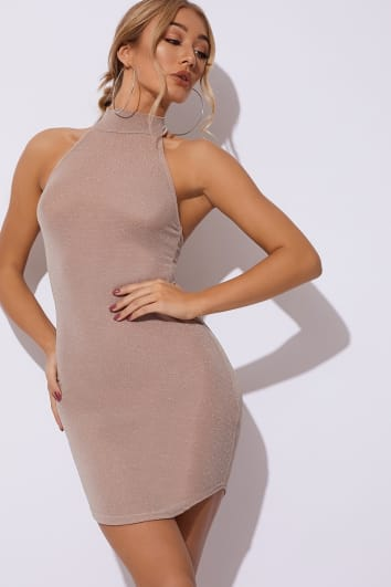CATHIEH NUDE GLITTER HIGH NECK DRESS
