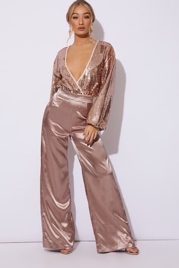 OTELIA MOCHA SATIN HIGH WAIST TROUSERS