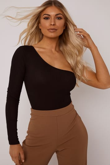 BASIC BLACK RIBBED ONE SHOULDER BODYSUIT