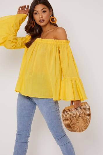 MEKEA YELLOW COTTON BARDOT TOP