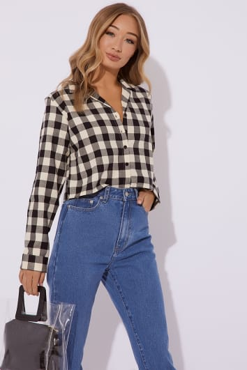 NESTA NAVY CHECKED CROPPED SHIRT
