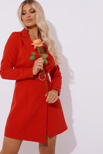 REGINA RED DIAMANTE BELTED BLAZER DRESS