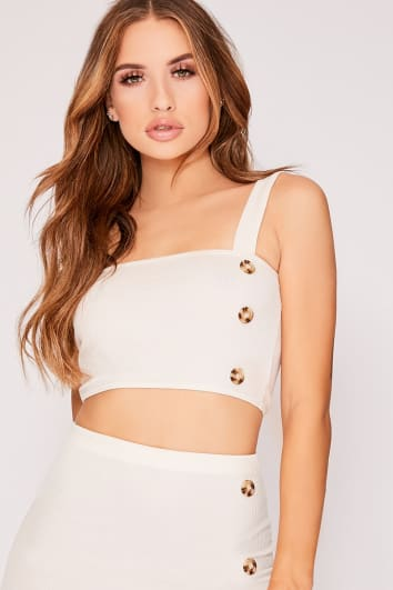 KANZLEE STONE RIBBED HORN BUTTON STRAPPY CROP TOP