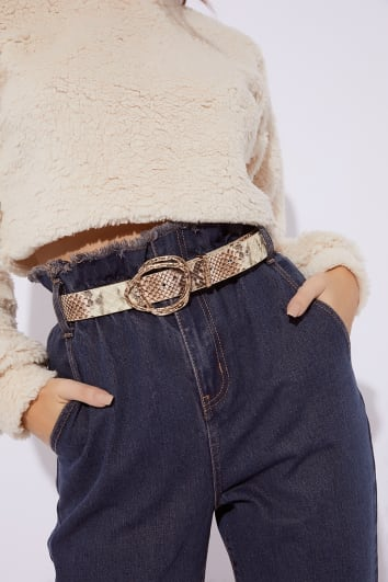 BROWN SNAKE PRINT ABSTRACT BUCKLE BELT