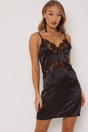 OPAL BLACK LACE TRIM SATIN SLIP DRESS