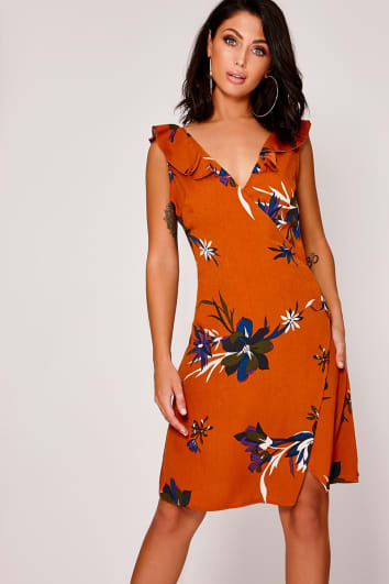 DEVOTA ORANGE FLORAL FRILL MINI DRESS