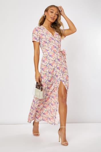 EMILY ATACK PINK FLORAL PRINT WRAP MAXI DRESS