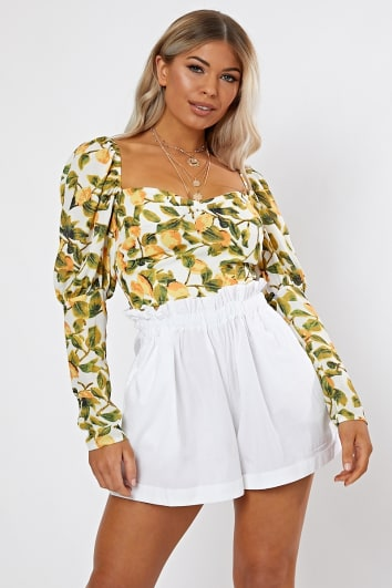 OSAIN WHITE LEMON PRINT PUFF SLEEVE CROP TOP