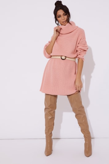 e63a014efc image of TINA PINK ROLL NECK KNITTED JUMPER DRESS with sku 103717