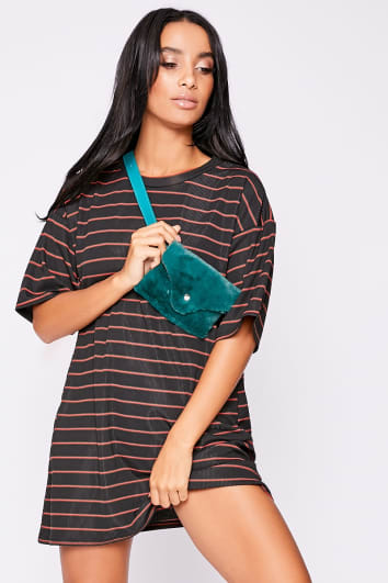 PHILO RED STRIPED RIBBED T SHIRT DRESS