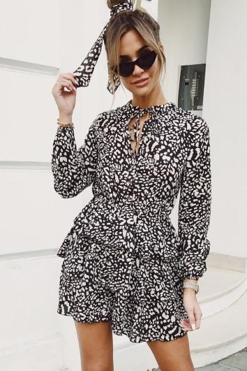 EMILY SHAK BLACK LEOPARD PRINT BUTTON DETAIL TIERED DRESS