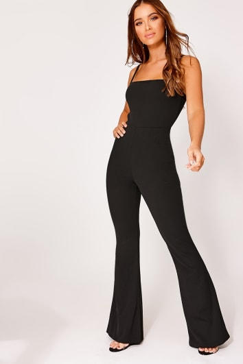 9c825d20e1 BRINIE BLACK SQUARE NECK FLARED LEG JUMPSUIT