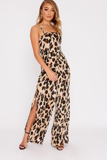 26425b37b6 CAMDIN GOLD LEOPARD PRINT SATIN SQUARE NECK FLARED LEG JUMPSUIT