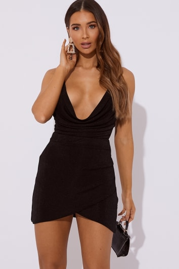 LIALY BLACK SLINKY WRAP SKIRT