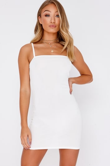 BASIC WHITE CREPE SQUARE NECK BODYCON DRESS