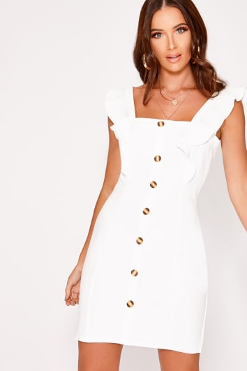 LAYLIEA WHITE FRILL BUTTON DOWN DRESS