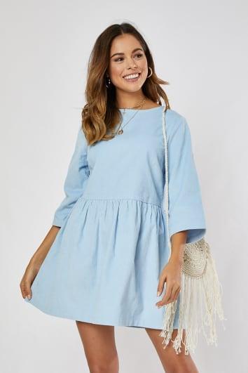 ADDILYNE PALE BLUE CORD SMOCK MINI DRESS