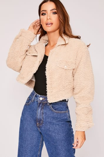 IRIS CAMEL TEDDY FUR CROPPED TRUCKER JACKET