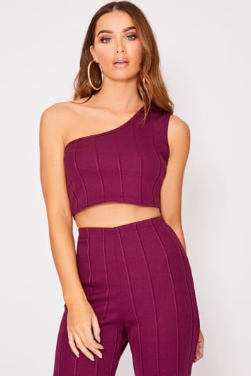 IIANA PLUM ONE SHOULDER BANDAGE CROP TOP