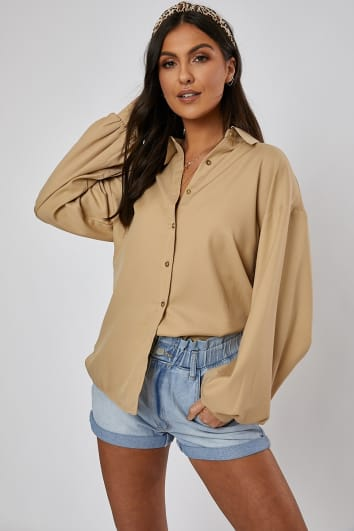 NARANI STONE OVERSIZED BALLOON SLEEVE SHIRT