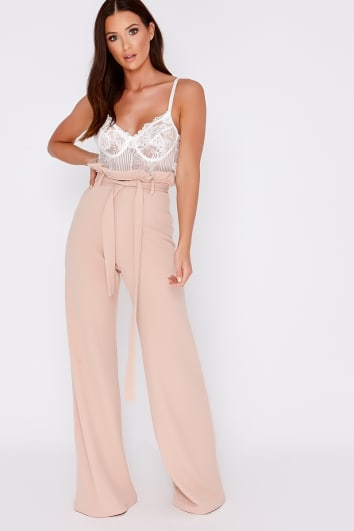 SARAH ASHCROFT NUDE FLARED HIGH WAISTED PAPERBAG TROUSERS