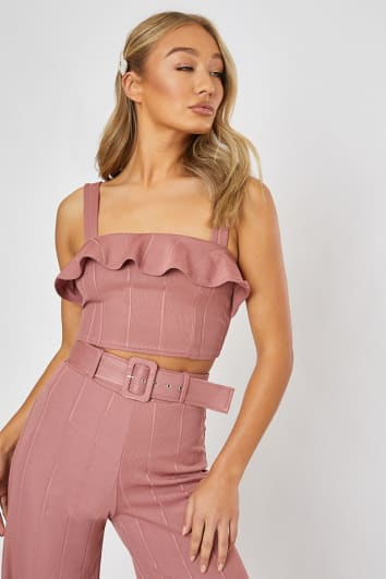 9e7ca82c086f87 BILLIE FAIERS BLUSH PINK BANDAGE FRILL CROP TOP