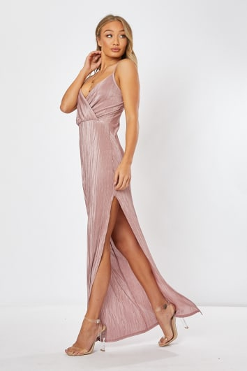 LISE BLUSH PLISSE STRAPPY MAXI DRESS