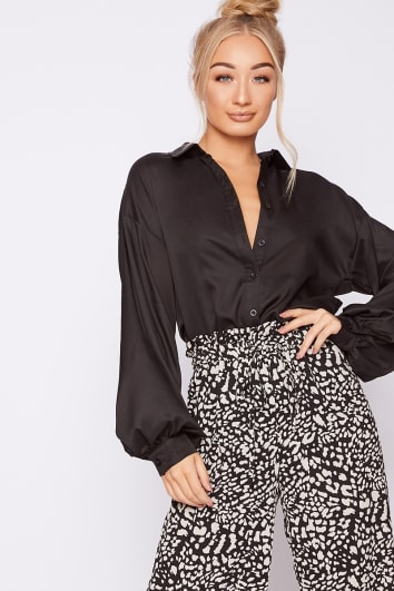 EMILY SHAK BLACK OVERSIZED BALLOON SLEEVE SHIRT