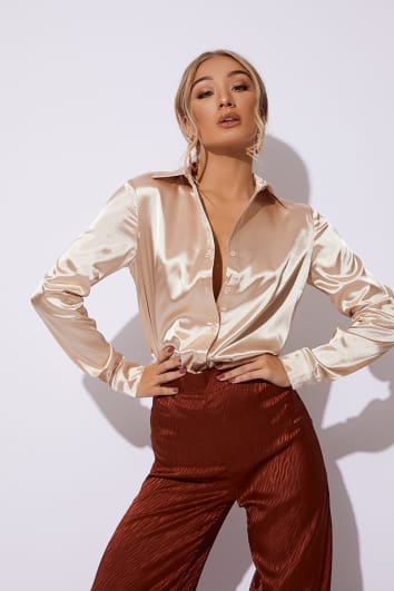 JESSA GOLD SATIN OVERSIZED SHIRT