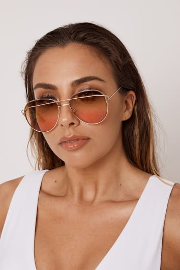 BROWN AND PINK AVIATOR SUNGLASSES