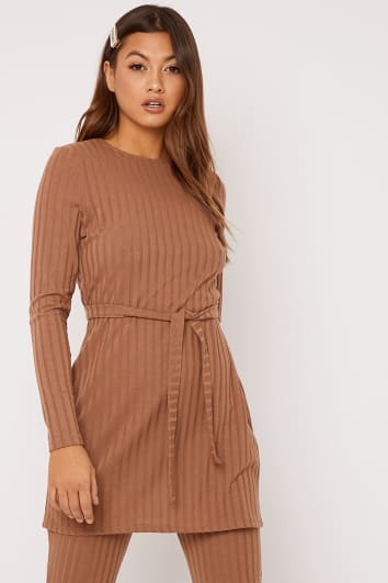 LINELLE CAMEL RIBBED LONGLINE TOP