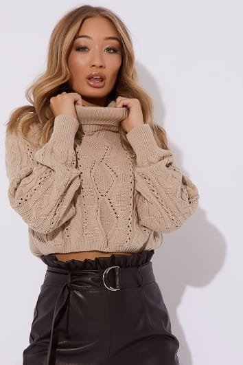 OLIVIJA CAMEL ROLL NECK CABLE KNIT JUMPER