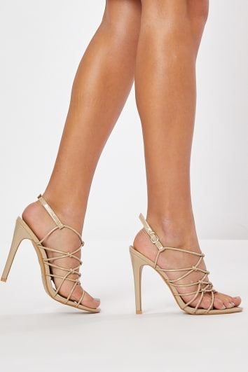 55a09b0ea17 MEGS NUDE PATENT STRAPPY HEELS
