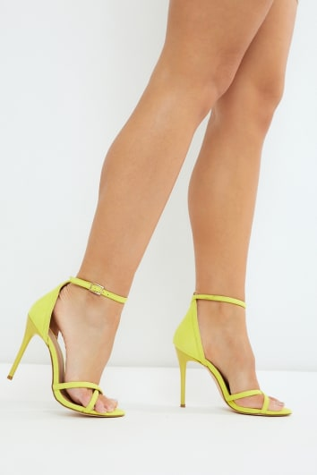 KAPPAH YELLOW FAUX SUEDE BARELY THERE HEELS